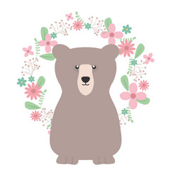 Bear grizzly with floral decoration bohemian style vector