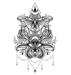 black and white butterfly over sacred geometry vector image