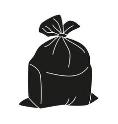 Black and white full trash bag silhouette vector