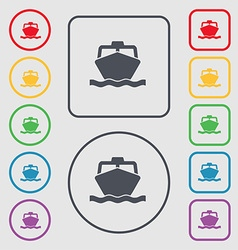 boat icon sign symbol on the Round and square vector image