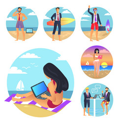 Business summer set poster vector