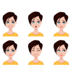 business woman freelancer banker set of emotions vector image