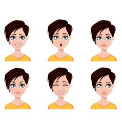 Business woman freelancer banker set of emotions vector