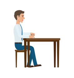 businessman writing with pen at the table vector image