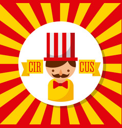 Carnival host man circus show with stripes vector