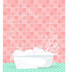 cartoon bathtub full of foam on pink tiled vector image