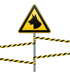 caution - danger be aware of dogs the area is vector image