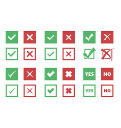 check box icons tick and cross signs vector image