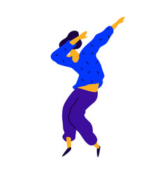 cheerful guy in a blue sweatshirt a dancing vector image