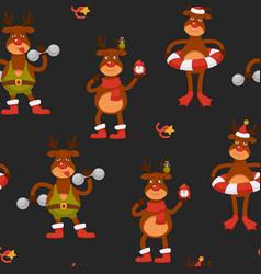 christmas character seamless pattern reindeer vector image