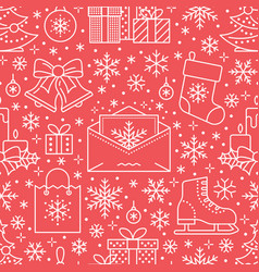Christmas new year seamless pattern line vector