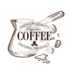 Coffee beans and turk isolated sketch icon cafe vector