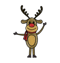 Color pencil cartoon full body reindeer with scarf vector