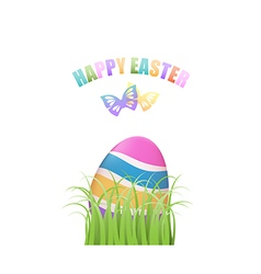 Colorful Easter egg in green grass with vector image