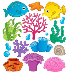 Coral reef theme collection 1 vector
