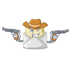 Cowboy opened and closed envelopes shaped cartoon vector