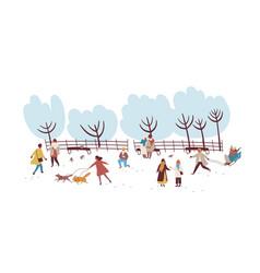 crowd people enjoying winter outdoors activity vector image
