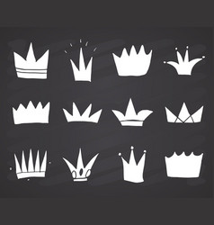 crowns doodles set hand drawn royal sketch on vector image