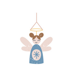 cute cartoon fairy girl in blue dress with wings vector image