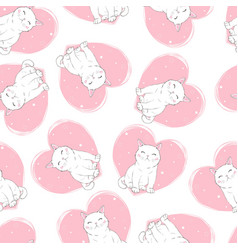 cute cats pet seamless icons pattern and vector image