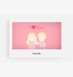 cute couple in love on pink background and text i vector image