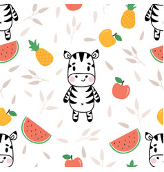Cute seamless pattern with little zebra and vector