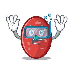 Diving salami character cartoon style vector