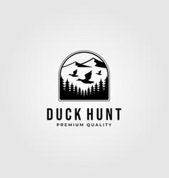 Duck hunting club vintage logo design outdoor vector
