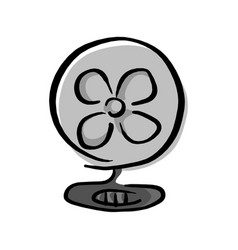 fan with shadow sketch hand drawn vector image
