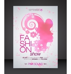 Fashion show flyer with floral hair pink woman vector