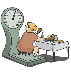 Fat woman on scales eats a lot food funny vector