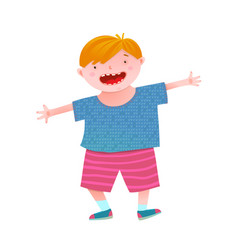 Fun smiling little boy red head kid vector
