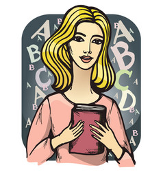 girl with book vector image