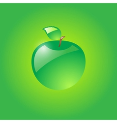 Glossy green apple vector