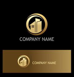 golden building home logo vector image