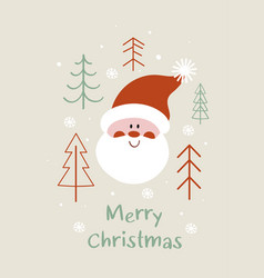 greeting card with face santa claus vector image