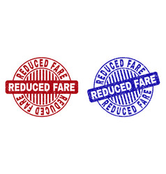 Grunge reduced fare textured round stamps vector