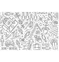 Hand drawn career set doodle background vector