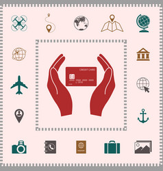 hands holding credit card elements for your vector image