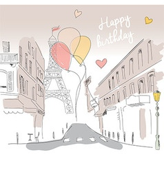 Happy birthday card from Paris Eiffel tower vector