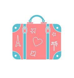 icon suitcase for travel vector image