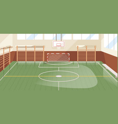 interior school gym equipped with basketball vector image