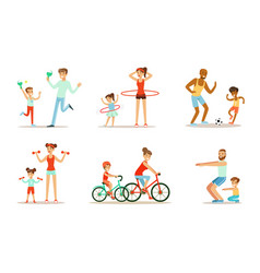 Joint activity parents and children sports and vector