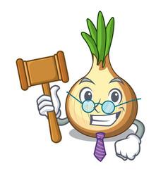 Judge fresh yellow onion isolated on mascot vector
