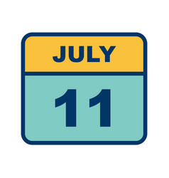 July 11th date on a single day calendar vector