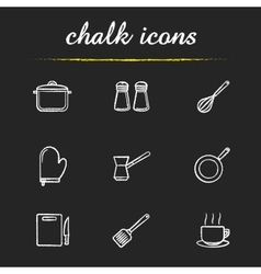 Kitchenware chalk icons set vector