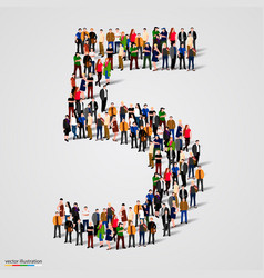 large group of people in number 5 five form vector image