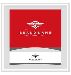 Letter a shield wing logo design concept vector