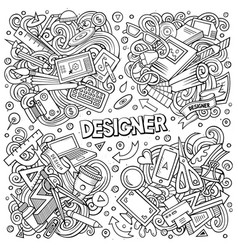 line art doodles cartoon set designer vector image