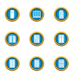 Little window icons set flat style vector